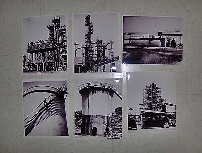 """Lot of 5 Vintage Industrial Refinery Photos B&W 8"""" X 10"""""""