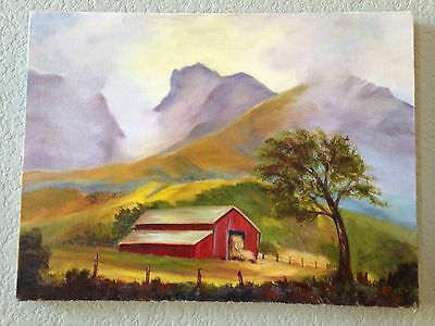 Original Hand Painted Barn Painting Signed Mountains Counrty Art Folk Art