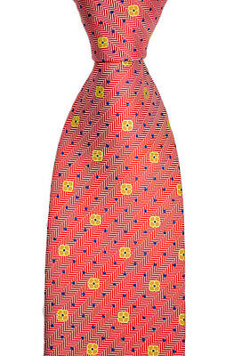 """Mens BRIONI Italy Red Jacquard Herringbone Floral Woven 3.25"""" Silk Neck Tie NWT"""