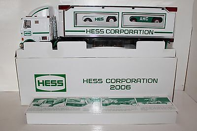 Rare Mint 2006 NYSE Hess Corporation Toy Dual Racer Transport Truck Perfect MIMB