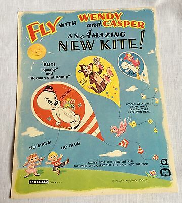 1960s Saalfield Harvey Cartoons Casper & Wendy Paper Kite Kit Vintage
