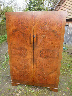 Edwardian BURR WALNUT WARDROBE. Excellent condition Cubby-holes Drawers Hanging