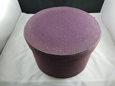 "Beautiful Collectible Large Purple Handmade Cloth Hat Box - 11 3/4"" Diameter"