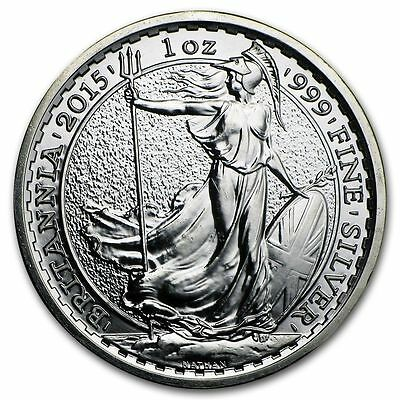 2015 Great Britain 1 oz .999 Silver Britannia - (Goat Privy) In Capsule