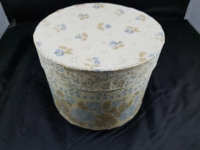 Beautiful Collectible Flower Pattern Handmade Wallpaper Hat Box - Blue & Brown