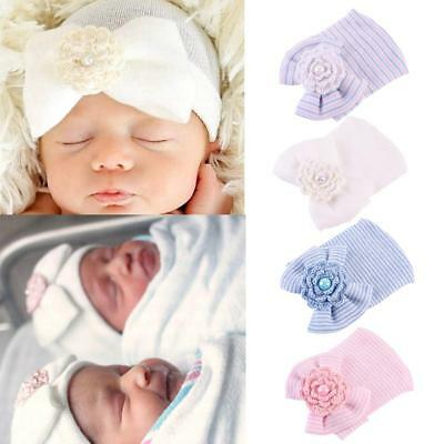 Soft Baby Newborn Girls Infant Bowknot Beanie Hat Hospital Cap Comfy 0-6M