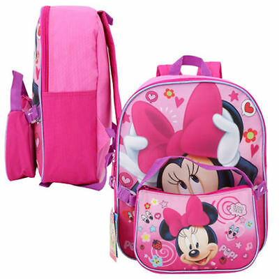 """Disney Minnie Mouse Toddler Kids Girls 12"""" Backpack + Lunch Bag Purse"""