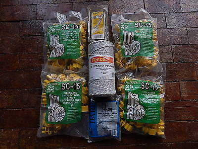 Lot o electric fencing supplies 1320' polywire corner insulators line tighteners