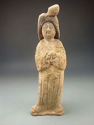Ancient Chinese Tang Dy Terracotta Red Pottery Women Servant (Panniu)