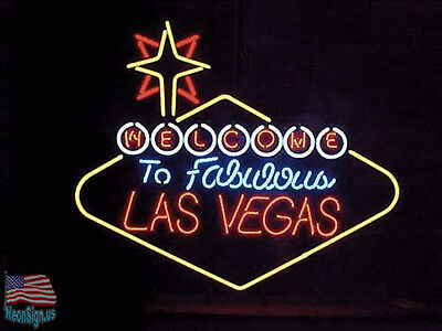 """Welcome to Las Vegas Nevada Beer Pub Bar Neon Sign 24""""X20"""" From USA"""