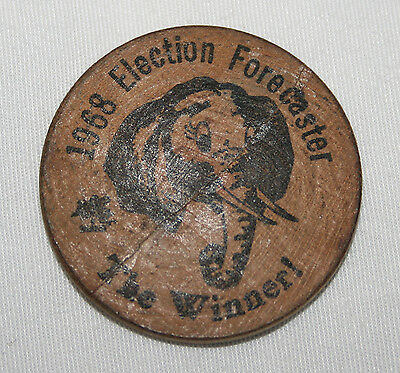 1968 Wooden Nickel /coin Election Forcaster winner Elephant/Donkey