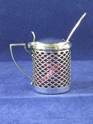 Antique .925 Sterling Silver & Red Glass Condiment Server With Sterling Spoon