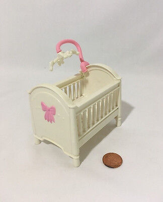 Fisher-Price Loving Family Dollhouse Crib Baby Bed White Pink Bow Mobile Pretend