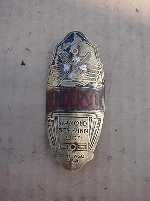 Schwinn Henderson Prewar Bicycle Badge Old Vintage Bike Plate