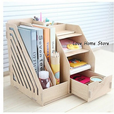 Office Wood Desktop Organizer File Holder Rack Folder Book Document Storage