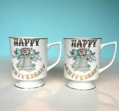 Happy Anniversary Mugs by Lefton China Set of 2 Footed Mugs Silver Bells