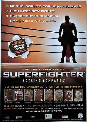2006 World Premiere Superfighter Heavyweight Boxing Rare Poster Lennox Lewis