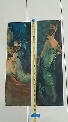 20s Art deco flapper girl & lover GENE PRESSLER Pompeian YARD LONG PRINTS lot 2