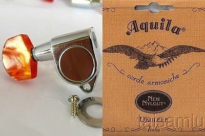 1 SET- Ukulele chrome machine heads peg 2R2L+Aquila String TENOR Nylgut #Alulu