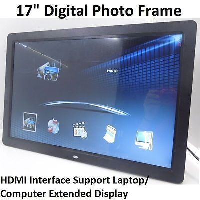 "17"" HD 1080P LED Digital Photo Picture Frame Movie Player Remote Control Black"