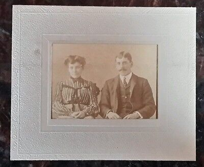 Vintage Old Photo 1890's Handsome Man Victorian Woman Couple Striped Dress