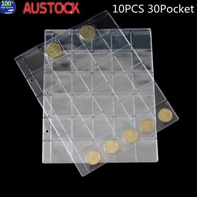 10 Page Penny Coin Collecting Holder 30 Pockets Storage Folder Album Book Sleeve