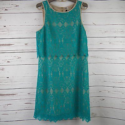 Sleeveless Teal & Tan Lace Layered Dress by Kensie Party Cocktail Mini ~ Size M