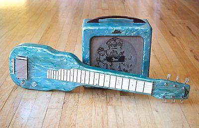 1952 Magnatone Blue Pearloid Lap Steel & Tube Amp Set 100% Original Noble Brand