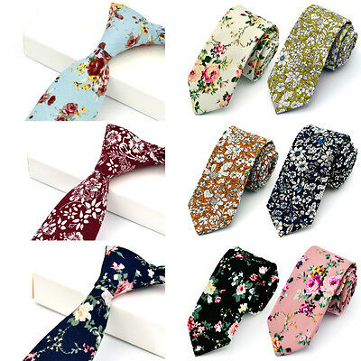 Men Retro Cotton Narrow Skinny Necktie Neck Tie Floral Flower Rose Mens Tie