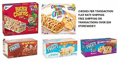 Cereal Treat Bars Lucky Charms Cinnamon Toast Crunch Rice Krispies Pick 1 SNACK