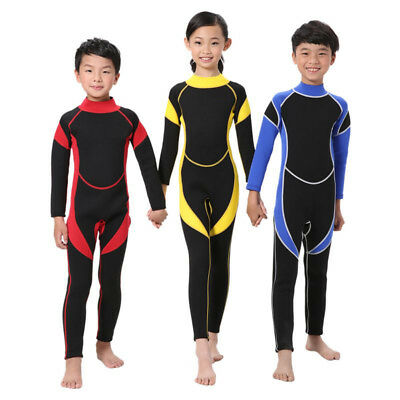 Unisex Boys Girls Neoprene Diving Wetsuit Swimsuits Long Sleeve Swimwear For Kid