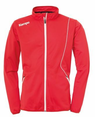 Kempa Kids Curve Classic Sports Training Full Zip Jacket Track Top Red White