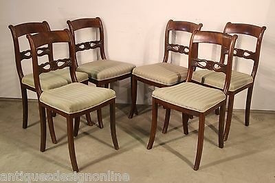 Rare set 6 antique DINING CHAIRS mahogany Regency Biedermeier French Empire real