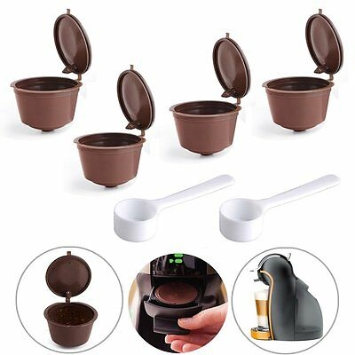 4 Reusable Capsule Pod Coffee Filter Cup Holder Machine for Nescafe Dolce Gusto