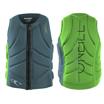2017 O'Neill Slasher Comp Mens Front Zip Comp Vest Dusty Blue Dayglow