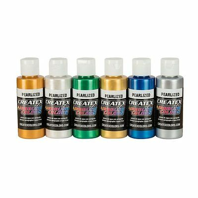 Airbrush Paint - Createx Pearl Set 6 x 60ml 5804-00 for fabric, wood, ceramics