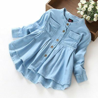 1-7T Baby Kids Girls Shirts Long Sleeve Spring Autumn Cotton Button Blouse Tops