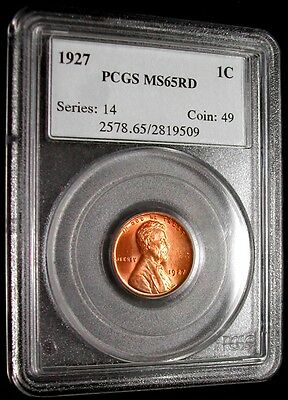 1927 Pcgs Ms65Rd Lincoln Wheat Cent    Clear Surfaces / No Spots / Very Nice