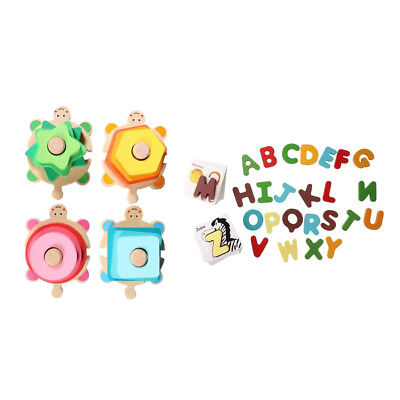 Alphabet Letters A-Z & Animal Card Matching Puzzle + 4 Pillar Matching Shape