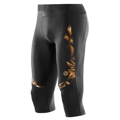 SKINS Mens A400 Compression 3/4 Tights Running Exercise Gold