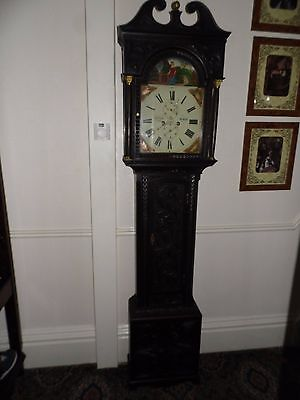 Antique Carved Ebonised Oak 8 Day J Gibson Berwick Grandfather Longcase Clock