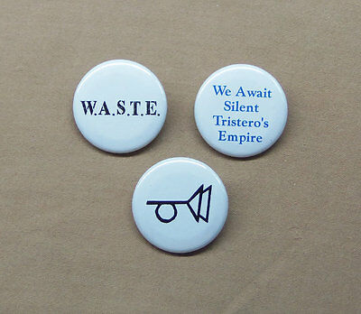 """The Crying of Lot 49 by Thomas Pynchon 3 Button Set 1.25"""" Muted Post Horn, WASTE"""