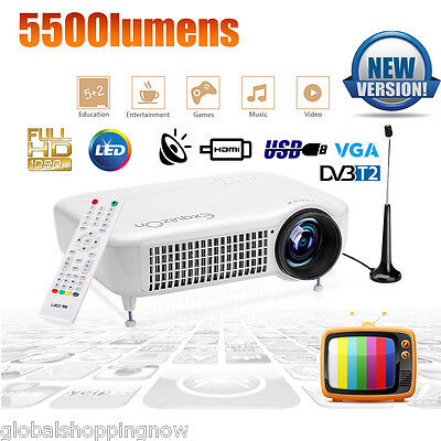 5500Lumens 1080P Home Cinema LED Video Proiettore DVB-T2/USB/TV/HDMI/VGA/AV
