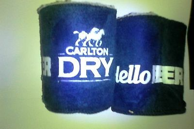 carlton dry wool lined can cooler -hello beer