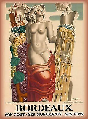 Bordeaux Southern France French European Girl Travel Art Poster Advertisement
