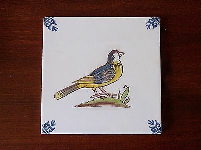 antique portuguese style wall tile hand painted made in holland trivet hot plate