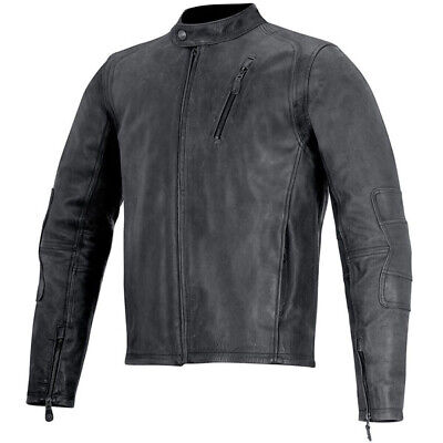 Alpinestars Monty Vintage Leather Motorcycle Jacket - Black