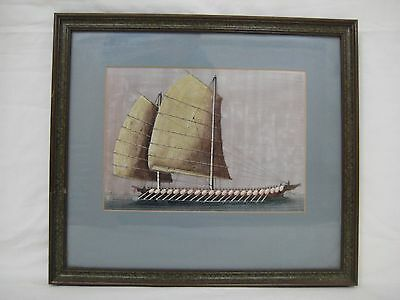 Antique Chinese War Boat Gouache on Rise Paper Painting