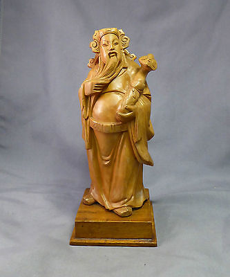 Chinese Antique Boxwood Carved Lu Immortal Figure Large Republic Period -Quality