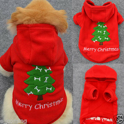 Christmas Pet Puppy Dog Clothes Santa Claus Costume Outwear Thick Coat Apparel